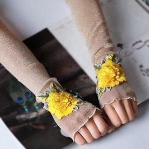 Women's sexy flower embroidery transparent mesh glove female spring summer sunscreen sexy long glove 50cm R2070
