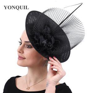 Black women wedding derby kenducky hats fascinator party chapeau bridal elegnat hair clips mesh married headpiece with hair clip