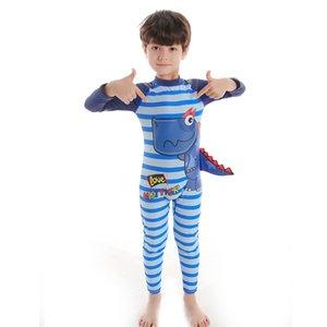 Mayolar için Boy Çocuk Mayo Rashguard Çocuk Mayo Bebek Çocuk Sigortalı Rashgard One Piece Uzun Kollu Dinozor