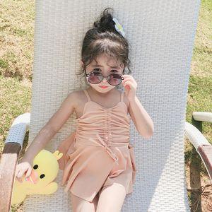 Filles dentelle falbala maillots de maillots de maillots d'enfants suspendus robe d'une seule pièce baignade coréenne style enfants princesse maillot de bain A2825