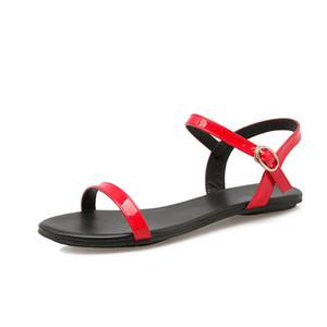 NEMAONE Negro Blanco Rojo Sandalias de Mujer Nuevo Verano Correa de Tobillo Hebilla Sandalias Chanclas Tamaño 33-40 Zapatos Sandalia Plana