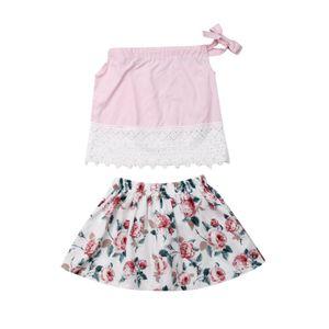 1-5Y Baby дети девушка роза цветок кружева топы футболка юбки 2шт наряды Одежда 1-5Y Baby костюм