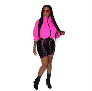 Le donne di colore di contrasto del progettista tuta lunga del rivestimento del manicotto sunproof pantaloncini cappotto + motociclista 2 pezzo vestiti vestito bodycon sport adatti WF704