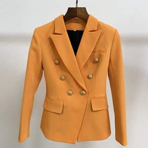 HIGH QUALITY Newest 2019 Baroque Designer Blazer Women's Classic Double Breasted Metal Lion Buttons Blazer Jacket Outer