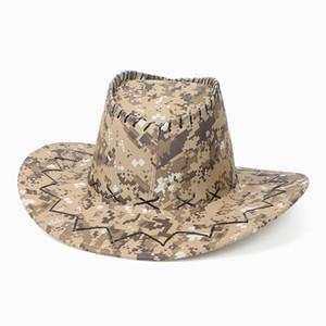 Kamuflaj Kovboy Şapka Süet Kamuflaj Batı Şövalye Şapka Retro Brim Açık Yaz Plaj Seyahat Şapka OOA7431 Caps
