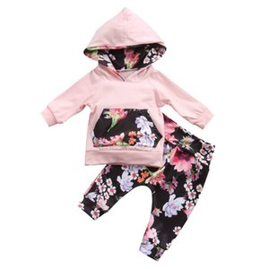 Newest Autumn Fashion Infant Kids Newborn Baby Girls Clothes Hooded Long Sleeve Tops T-shirt Floral Legging Pant Outfit Cute Set