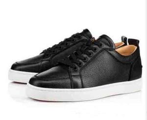 [Caja original] Mejor marca de regalo Red Bottom Men Sneakers Low Rantulow Junior Flat Men Geunine Leather White Black Trainer