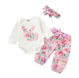 Toddler Girl Set Boutique de Pâques pour bébé Tenues Cartoon Rabbit Romper + pantalon long + Casquette 3PCS Enfants Automne Enfants Vêtements Ensembles BY0916