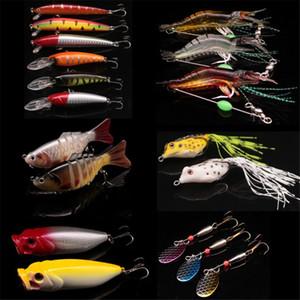 18pcs lot Almighty Mixed Fishing Lure Set Wobbler Crankbaits Swimbait Hard Baits Soft Bait Spinner Bass Carp Fishing Tackle T200602