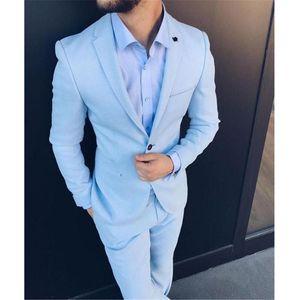 Slim Fit Men Suits for Wedding Prom Tuxedos 2020 Light Sky Blue 2 Piece Jacket Pants Male Suit Set Man Stage Clothes