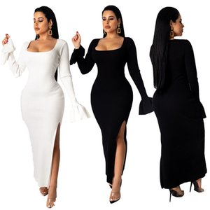 Large U-neck fashion temperament women's long-sleeved thread split sleeve hips ladies sexy evening dress solid color dress