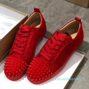 For Men Women Shoes Party Wedding crystal Leather Sneakers Designer Sneakers Red Bottom shoe Low Cut Suede spike shoes L194