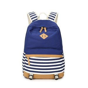 New Canvas Backpack Navy Striped Bag Women's Middle School Student Bag Fashion British style Backpack Female Travel