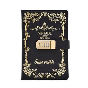 5 cores de papelaria fina estilo retro notebook cadeado diário notebook notebook caderno grosso