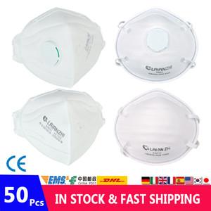 50 adet / torba KN95 Yüz Maskesi Toz Maskeleri KN95 Maske Solunum Koruyucu Filtre Nefes Ağız Maskesi Kapak Volve ile Kullanımlık