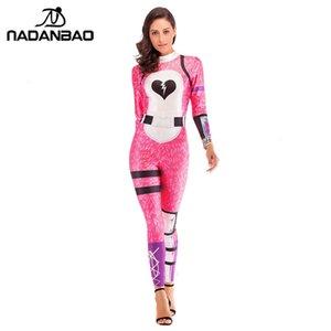Costumes Pink Bear NADANBAO Cosplay Cuddle Team Leader Jumpsuit Harror Dia das Bruxas para mulheres Plus Size BodysuitMX190921
