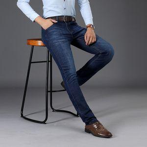 SULEE Marka 2019 Yeni erkek Streç Kot Yüksek Kaliteli Ince BlueTrousers Kot Erkek Iş Rahat Pantolon Marka