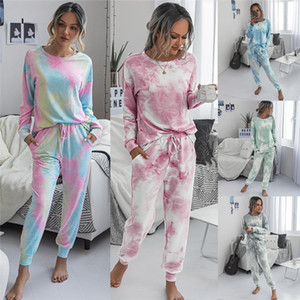 2020 Outono Inverno longa das mulheres de manga curta Pijamas Set Tie Dye Impresso Soft Top e calças PJ Set Pijamas Roupa Loungewear