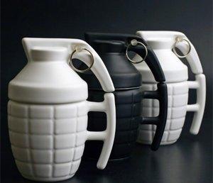 DHL Grenade forme mugs à café tasse en céramique de l'eau avec couvercle avec poignée blanc bureau noir tasse en porcelaine