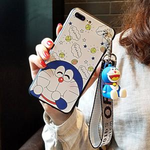 LIVRAISON GRATUITE mignon téléphone portable Coque Convient pour Apple 8plus 6S Doraemon et Hanging Femme corde Support Shell
