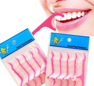 25pcs 1 saco de plástico Toothpick Cotton Floss palito Flosser Interdental dentes vara Tabela Saúde Para Acessórios Ferramenta Toothpick KKA7840