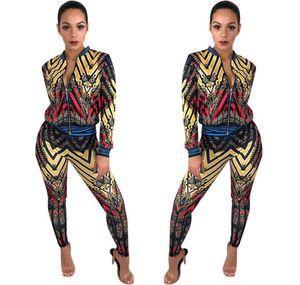 Bonne qualité Womens Survêtements Fashion Print Paneled Veste à rayures tops pants set Casual Deux-Piece ensembles Sport Suit vêtements de sport
