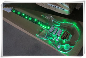 Mancino LED verde acrilico corpo chitarra elettrica con Floyd Rose Bridge, tastiera in palissandro, può essere personalizzato
