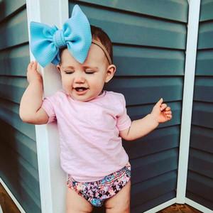 Bandas venda del bebé del Bowknot grande de pelo de nylon recién nacido lindo del turbante de gran tamaño del niño del arco de los bebés del abrigo de la cabeza de pelo Accesorios 16 colores DW5275