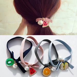 Hohe elastische Frucht-Haar-Gummibänder Apple-Wassermelone-Kiwi-Metallanhänger-Perlen-Haar-Seil-Bogen-Tiara für Frauen-Haar-Zusätze
