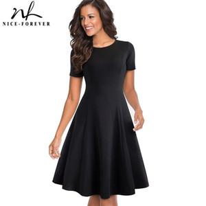 Nice-sonsuza Vintage Şık Yuvarlak boyun kısa Saf Renk vestidos A-Line Pinup İş Parti Kadın Flare Siyah Elbise A110