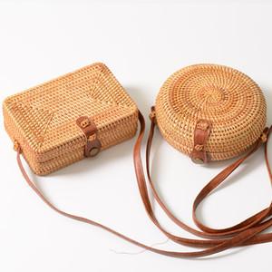 INS Hot Sales Handmade Designer sac à main pour femmes tissés Crossbody sacs carré rotin rétro littéraire boucle plage Messenger Designer bourse