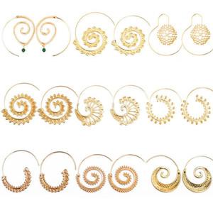 Orecchini a spirale piuttosto rotondi Bellissimi gioielli da spiaggia Personalità Boemia Orecchini a goccia esagerati etnici Orecchini a cuore con idromassaggio