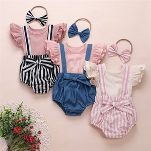 2020 0-3Y Newborn Baby Girl Summer Clothes Sets Ruffles Fly-Sleeve T-shirt Tops Striped Solid Suspender Shorts Headband Outfits