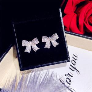 Coreano dulce lindo marca nueva moda joyería 925 plata esterlina pavimenta blanco zafiro cz diamante gemas gemas fiesta mujer estudio arco arco