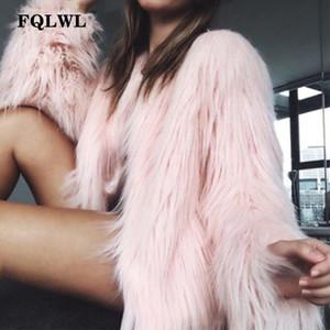 FQLWL Abrigo de piel de imitación de las mujeres de la chaqueta más el tamaño Negro Blanco Rosa felpa Mujer Abrigo colorido Otoño Invierno Prendas de abrigo lanudo CJ191213