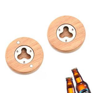 خشبية مستديرة الشكل زجاجة بيرة فتاحة كوستر الديكور المنزلي 7.1 * 1.2cm والفولاذ المقاوم للصدأ زجاجة بيرة فتاحة RRA2856