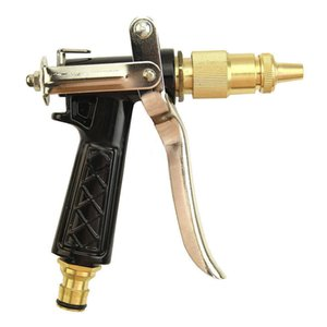 Metal Hose Nozzle High Pressure Garden Auto Car Washing Water Gun Sprayer Adjustable Copper Hose Spray Nozzle Gun T200530