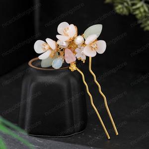Chinês Estilo Pin cabelo da cor do ouro U Shaped Cabelo Forks Handmade Cabelo Flor Clipe Mulheres Jóias Acessórios