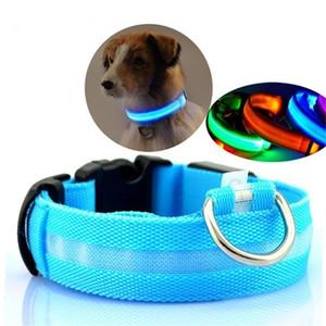 LED Pet Nylon collier de chien Veilleuse de sécurité clignotant Phosphorescent Dog Leash Chiens lumineux fluorescent Colliers Collier Perro