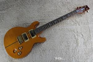 free shipping + factory + PRS 24 Bünde E-Gitarre, PRS Flamme Ahorn gelbe Farbe individuelle Gitarre