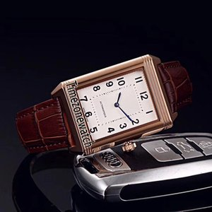 New Reverso Clássico Clássico Médio Fino 2548520 Miyota 8215 Relógio Automático para Homem Rose Gold White Dial Brown Leather Watches Timezonewatch E26b2
