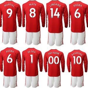 Custom kids football kits 14 LINGARD 8 MATA 1 DEGEA 9 MARTIAL 10 RASHRORD 6 POGBA Children soccer Jerseys boy Sports Uniforms Sets