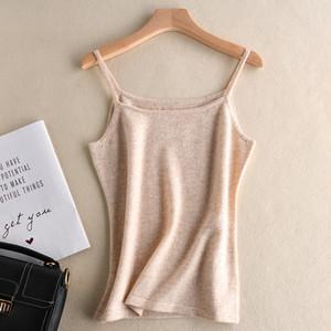 Trendy nouvelle ATTYYWS cachemire dames Camisole en tricot couleur unie mince laine sans manches de la mode pull court pull col