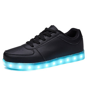 KRIATIV Black Shoes USB Charging Kids Boy Girl LED Light Up Glowing Sneakers Luminous Dancing Sneakers Women Footwear