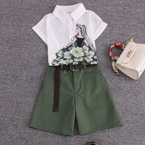 2020 summer 2 pieces suits girl print chiffon blouse shirt women tops + shorts set Women two piece set tracksuit With Belt