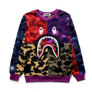 BAPE 남성 스타일리스트 후드 Bape의 상어 인쇄 후드 남성 여성 스웨터 긴 소매 스웨터 높은 품질 까마귀 바느질 색상