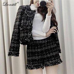 Lionstill 2018 Lady plaid piccolo profumo delle donne di lana temperamento due pezzi di moda del vestito di tutto-fiammifero casuale alla moda