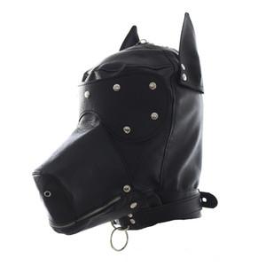 Fetish PU Leather SM Hood Maschera per cani Head Harness Sex Slave Collari al guinzaglio Bocca Gag BDSM Bondage Blindfold Giocattoli del sesso per coppia
