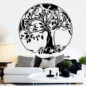 Abstract Grande árvore Decal Oak Tree Of Life Acorn adesivos de vinil Wall Decal Para Casa Decor Art Murais quarto sala de estar