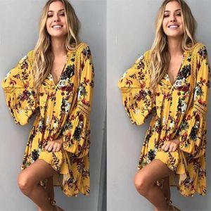 Estate manica lunga donna di alta qualità vestito allentato fiore stampato scollo a V increspato lusso boho stile signora abito lungo moda vestido plus size